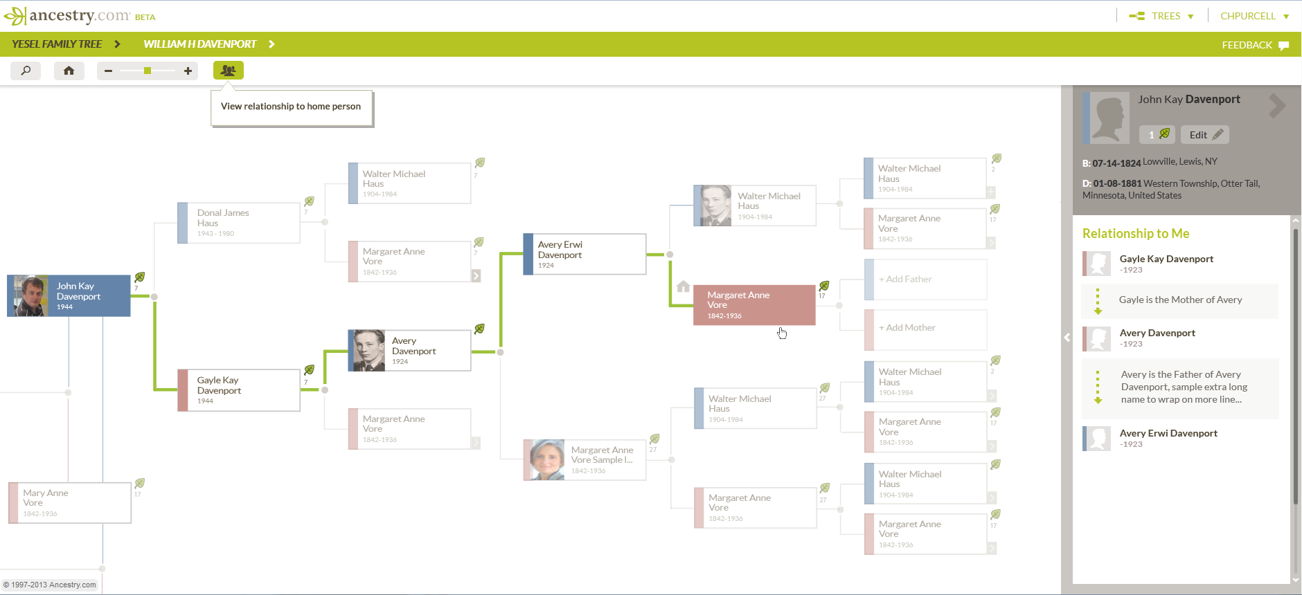 Ancestry – Relation to Me Viewer