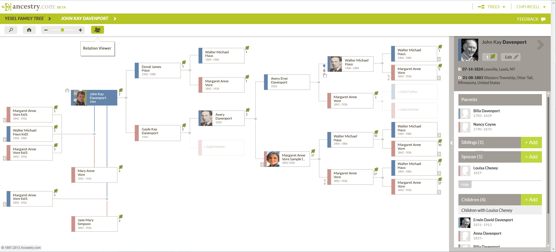 Ancestry R&D – My Tree View with quick tree search