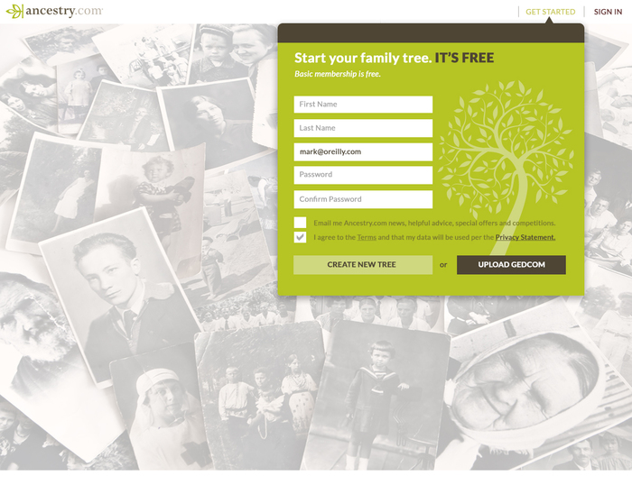 Ancestry – Sign up